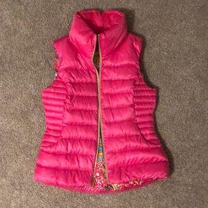 Lilly Pulitzer medium puffer vest hot pink